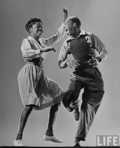 Leon James & Willa Mae Ricker demonstrating a step of The Lindy Hop. (Photo by Gjon Mili//Time Life Pictures/Getty Images) Jan 1943
