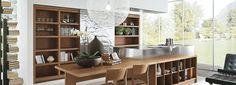 Cocina abierta con comedor integrado Acabado: Nogal - Acero inoxidable Shelving, Kitchen, Table, Furniture, Home Decor, Open Kitchens, Stainless Steel, Dining Room, Shelves