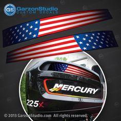 USA MADE Mercury 150 Sticker Decals Outboard Engine Graphic Kit EFI Sticker FLAG