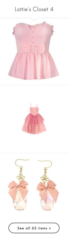 """""""Lottie's Closet 4"""" by summersurf2014 ❤ liked on Polyvore featuring tops, shirts, blusas, pink, bow peplum top, ruffle top, pink top, bow top, pink peplum top and dresses"""