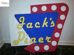 Retro Diner Sign for Classic Cars/Hot Rod Birthday Party Theme - Created By: Occasional Celebrations, Savannah, GA Red Birthday Party, Cars Birthday Parties, 50th Birthday Party, 1950 Diner, Retro Diner, 1950s, Diner Party, Retro Party, Milkshake
