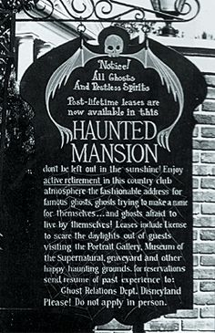 The original pre-opening Haunted Mansion announcement. Disney Day, Disney Love, Disney Magic, Disney Parks, Walt Disney, Haunted Mansion Disney, Haunted Houses, Disney Rides, Vintage Disneyland