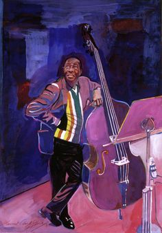 """David Lloyd Glover, """"Milt Hinton Jazz Bass"""" - Many of Hollywood's A-list celebrities and recording stars are among his top collectors. For his many galleries, Glover has created images ranging from Impressionist landscapes to Iconic pop art images of Jazz artists and Rock stars.  David Lloyd Glover has a 25-year international reputation exhibiting in major galleries in the US, Canada, Mexico, and Japan. Since 1986 he has sold over 2,000 original paintings."""