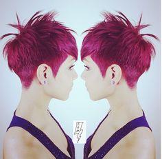 Edgy Short Haircut & Fusia Haircolor