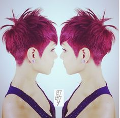 Edgy Short Haircut & Fusia Haircolor