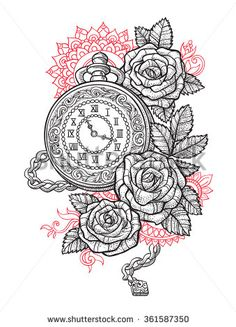 Vintage pocket watch with a pattern in roses and ornaments