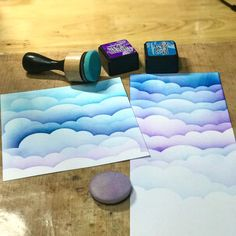 Making clouds with my new toy!! (Cloud stencil from @mftstamps ) #handmade #crafts #distressink @ranger_ink