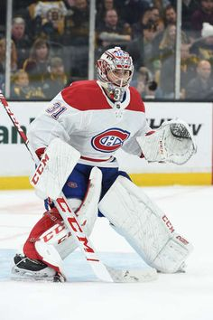 BOSTON, MA - OCTOBER Carey Price of the Montreal Canadiens in the net against the Boston Bruins at the TD Garden on October 2018 in Boston, Massachusetts. (Photo by Steve Babineau/NHLI via Getty Images) Goalie Gear, Hockey Goalie, Hockey Teams, Ice Hockey, Td Garden, Trish Stratus, Nhl Games, Hockey Stuff, October 27