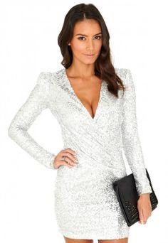 Felicite Premium Sequin Cross Over Dress - Dresses - Sequin Dresses - Missguided | Ireland