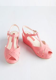 Lovely as Lemonade Wedge in Strawberry. Stir up a refreshing look by stepping into these bright pink wedges from Bait Footwear! #pink #modcloth
