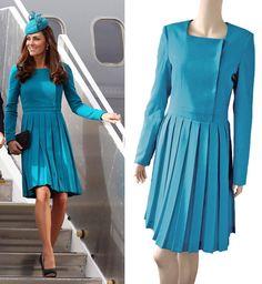 ROYAL TOUR 2014 Aquamarine pleated dress by TatianasDelights, $219.00