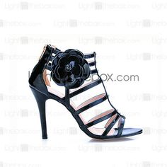 Patent Leather With Flower Sandals Pumps