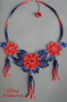 Necklace beaded flower handmade necklace by Elinawonderland