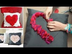 Chuladas Creativas :: Cushions with Heart :: Crafts - Valentine Day - Felt Flowers Patterns, Fabric Flowers, Felt Flower Pillow, Felt Roses, Diy Cushion, Wedding Pillows, Baby Pillows, Diy And Crafts, Valentines