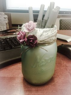 Pen/Pencil holder for my office using a mason jar. Martha Stewart Sea ...