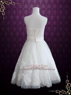 Strapless Short Knee Length Lace Wedding Dress | Claire | Ieie's Bridal Wedding Dress Boutique