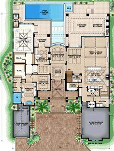 Florida Mediterranean House Plan 75954 Level One