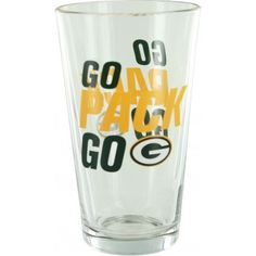 Green Bay Packers Go Pack Go Slogan Pint Glass!  Go! Packers go! It's hard to chant while taking a drink, so why not have a cup that can cheer on your favorite team for you? This cup sporting the Packers slogan can hold up to sixteen ounces and is produced by Boelter Brands. Handwash is recommended.   Available for $12.99! Green Bay Packers Merchandise, Go Pack Go, Pint Glass, Slogan, Cheer, Packing, Drink, Tableware, Bag Packaging