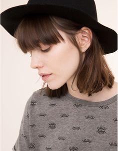 Pull&Bear - mujer - camisetas y tops - camiseta estampado all over ojos - gris vigo - 09242350-I2015