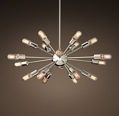 love the sputnik lights in both chrome and iron (restoration hardware) Hudson Lighting, High Ceiling Lighting, Ceiling Lights, Living Room Light Fixtures, Living Room Lighting, Sputnik Chandelier, Chandelier Ideas, Chandeliers, Rustic Lighting