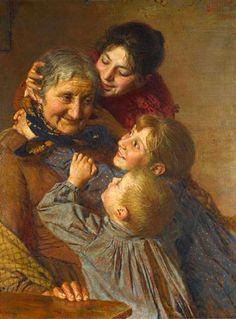 A Tender Moment (Grandmother) Gaetano Bellei (1857 – 1922, Italian)