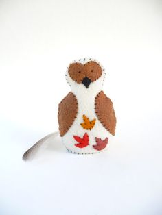 Autumn leaves owl soft sculpture made from felt by WillowandQuail, $23.00