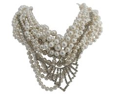 Tom Binns layered pearl and rhinestone necklace, must have...