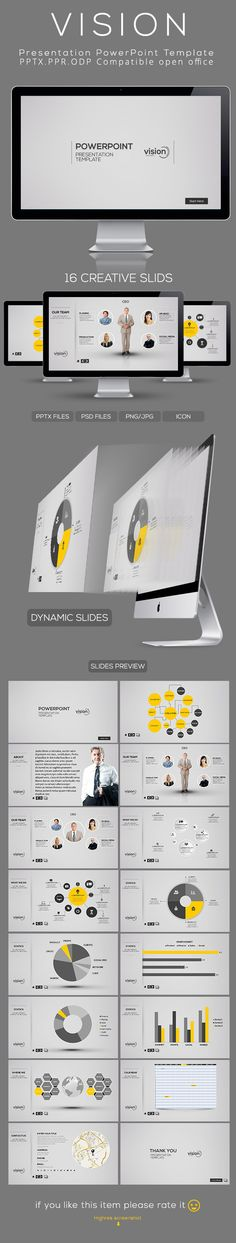 Vision Powerpoint Presentation Template by Rao Tariq | Powerpoint CAN be cool. Though the program needs a little (a lot) of revamping.