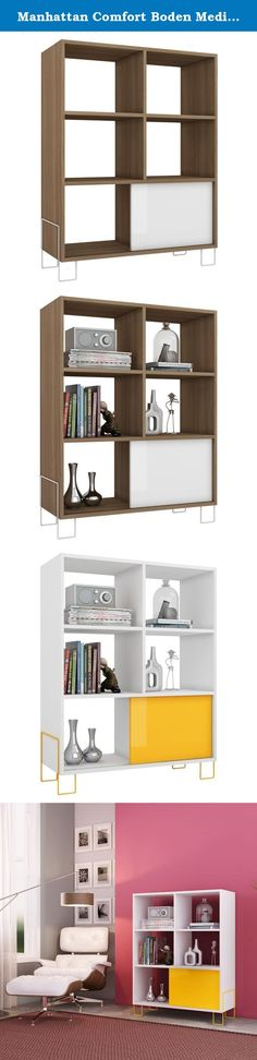 Manhattan Comfort Boden Media Storage. Includes hardware. Mid-High Side Stand. Unique and modern feet design. Open shelves and sliding color door. Dipslay photos, trophies, books on this unique piece. Fashion furniture. Oak frame with white door and legs. Manufacturers Warranty: 90 days limited. Made from melamine MDP. Assembly required. 31.69 in. W x 12.99 in. D x 38.59 in. H (47.4 lbs.).
