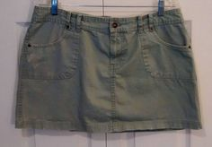 ROUTE 66 Size 14 Light Army Green Cotton Short Jean Skirt #Route66 #Jean $0.99 @Ebay
