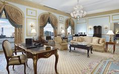 """The storied New York hotel specifically designed the two-bedroom Royal Suite for the queen. Running the length of the building on the top floor, the grand accommodation was refurbished by Ken Hurd to imitate the style of the royal family's private estate outside Paris. """"Opulent details such as gold-embellished woodwork, layers of Champagne-colored Italian silks, antique mahogany moldings, and carefully selected artwork and accessories reinforce the sense of a well-traveled, sophisticated…"""