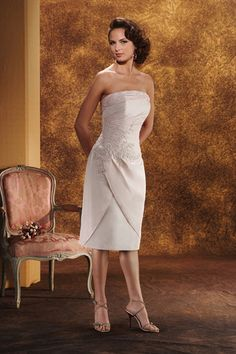 Shop beautiful New Arrival Wedding Dresses Sheath Column Strapless Knee length Satin online affordable for big discount