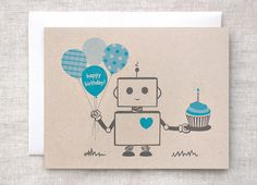 Robot Birthday Card  Blue Happy Birthday Card por HappyDappyBits, $4.00