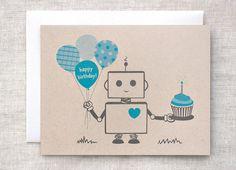 Robot Birthday Card - Blue, Happy Birthday Card, Eco-friendly Card - For Boy, For Him