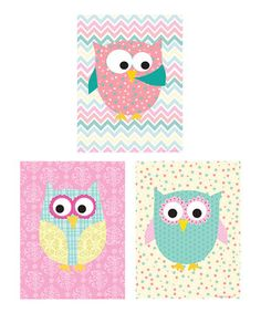 Another great find on #zulily! Pink Spring Owl Print Set by Ellen Crimi-Trent #zulilyfinds