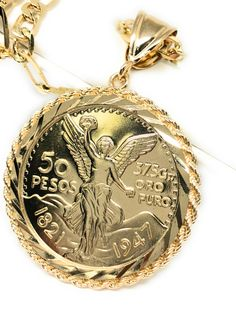 promo code 7d1eb e3ce1 Beautifully designed and high quality gold plated Mexican centenario coin  pendant chain necklace with 26 inch
