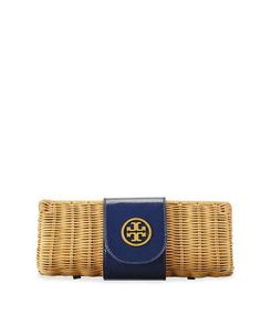 Tory Burch Rattan Straw Clutch Bag