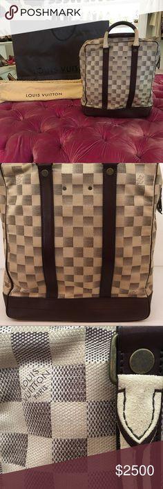 Louis Vuitton Azur Damier Shopper Louis Vuitton azur damier shopper Tote with brown leather handles and base Louis Vuitton Bags Duffel Bags