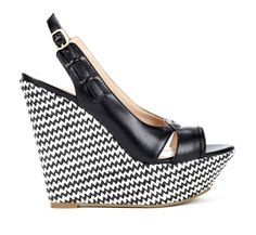 Black And White Chevron(?) Wedge Shoes
