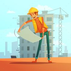 Buy Builder Cartoon Illustration by macrovector on GraphicRiver. Builder and building plan cartoon background with house and crane vector illustration. Editable EPS and Render in JPG. Flat Illustration, Free Illustrations, Vector Design, Vector Art, Graphic Design, Engineer Cartoon, Cartoon Background, Art Background, Cute Cartoon Wallpapers
