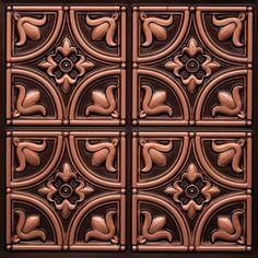 Grid Lot of 12 #203 Antique Copper Faux Tin Decorative Ceiling Tiles Glue Up