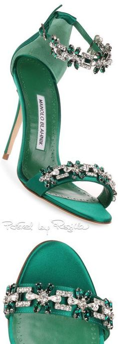 Emerald satan embellished sandal from Manolo Blahnik. The Firadou has a stiletto heel, clear and emerald crystal detailing, and an adjustable ankle strap. Pretty Shoes, Beautiful Shoes, Hot Shoes, Shoes Heels, Shoes Uk, Manolo Blahnik Sandals, Manolo Blahnik Shoes Wedding, Rihanna Manolo Blahnik, High Heels Outfit