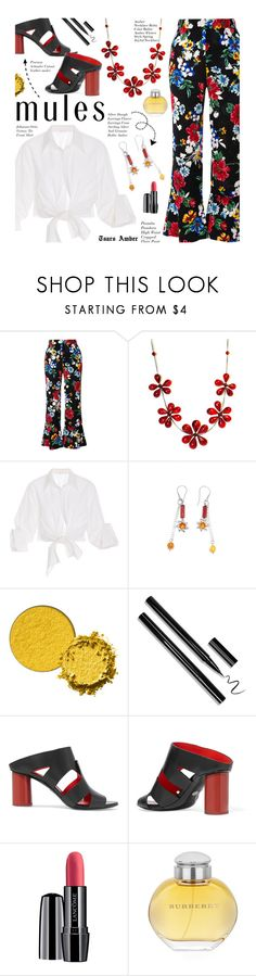 """TsarsAmber Jewelry - Slip 'Em On: Mules"" by beebeely-look ❤ liked on Polyvore featuring Piamita, Johanna Ortiz, Proenza Schouler, Lancôme, Burberry, Flowers, floralprint, whiteshirt, mules and TsarsAmber"