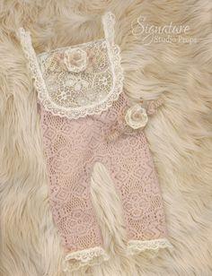 Pale pink, vintage lace newborn romper + headband set