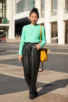 i could never do leather pants in hong kong, but i love these colors together.