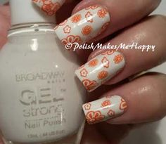 A nice refreshing summer mani; White is Broadway Gel Strong in french white and I used Mundo de Uñas Geranium to #stamp. Just a fun manicure! #pmmh #nailpolish #nailpictures #stamping #nailart
