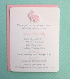 Pink Polka Dot Bunny Baby Shower Invitations  Baby by AzureHaven