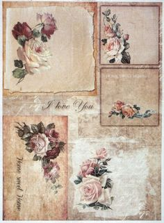 Rice Paper for Decoupage Decopatch Scrapbook Craft Sheet Vintage Roses Home