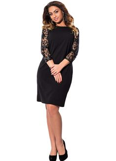 5216db4a0c4eb Lace Applique Sleeves Plus Mini Dress With Pockets Plus size Dress Plus size  Clothing Sexy Lingeire