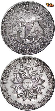 8 reales de plata de 1837 Cuzco, Perú.